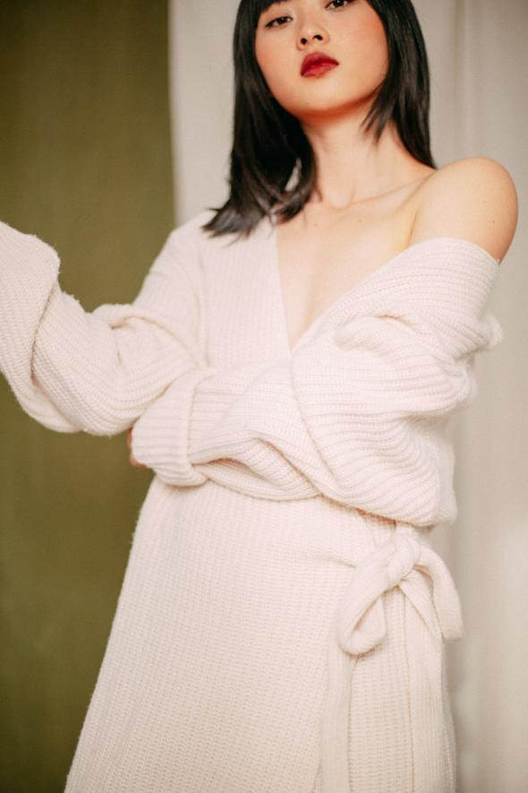ECRU LONG KNIT CARDIGAN ONLINE EXCLUSIVE Cossac