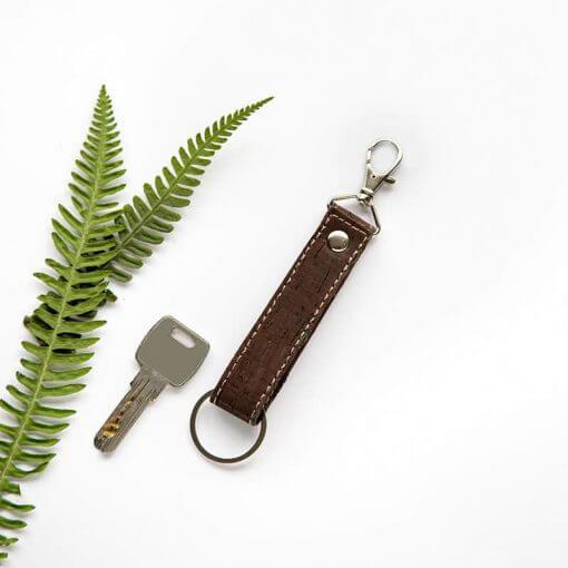 Eco friendly vegan keychain handmade of dark natural cork